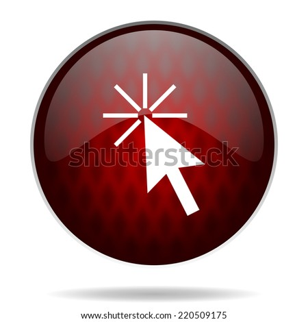 click here red glossy web icon on white background