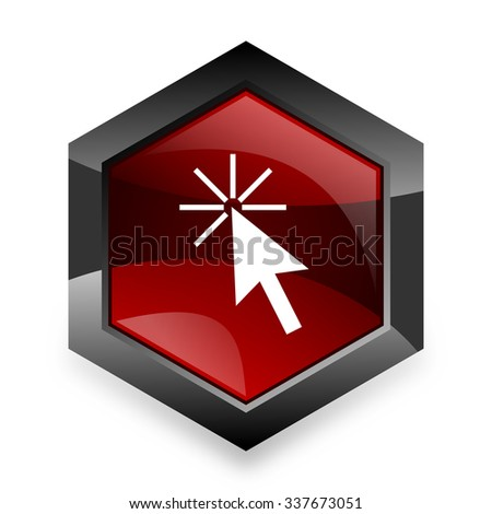 click here red hexagon 3d modern design icon on white background  - stock photo