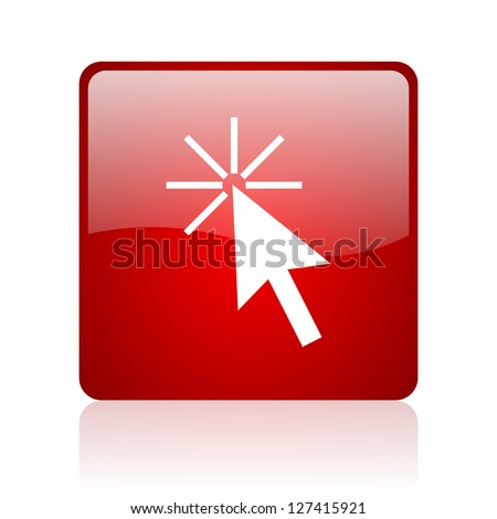 click here red square glossy web icon on white background - stock photo