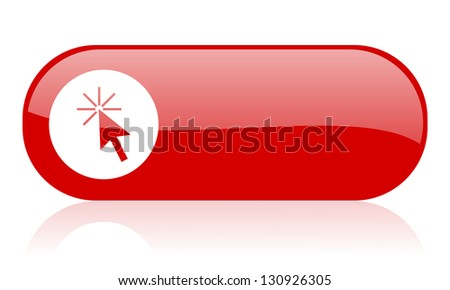 click here red web glossy icon - stock photo