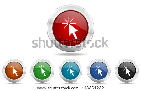 click here round glossy icon set, colored circle metallic design internet buttons - stock photo