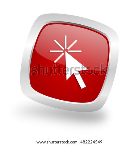 click here square glossy red chrome silver metallic web icon