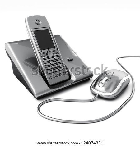 Click or call contact us concept. Computer mouse with telephone. 3d image