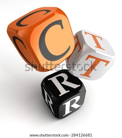 Click Through Rate, CTR, business concept acronym orange black dice blocks on white background - stock photo