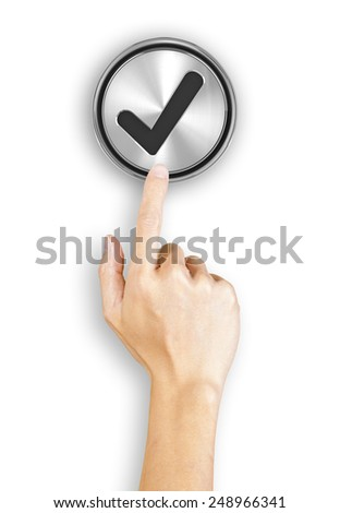 Clicking a 3d rendered tick button, white background - stock photo