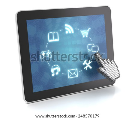 Clicking on a tablet with touchscreen interface, 3d render, white background