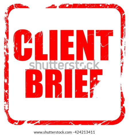 client brief, red rubber stamp with grunge edges - stock photo