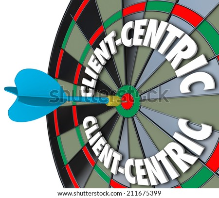 Client Centric 3d words on dart board targeting excellent customer service and meeting needs as first priority job - stock photo