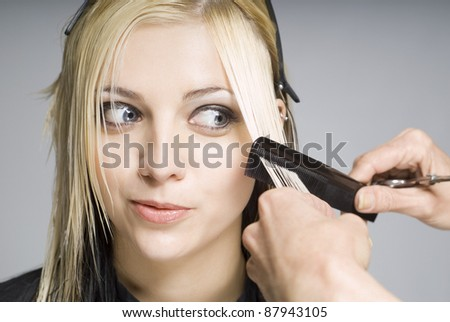 Client looking at comb while hairdresser cutting hair - stock photo