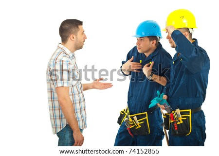 Client man arguing with workers men and asking for explanations against white background - stock photo