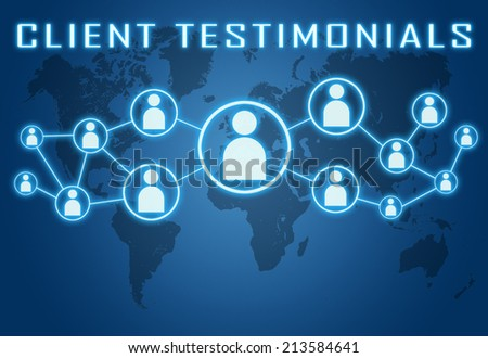 Client Testimonials concept on blue background with world map and social icons. - stock photo