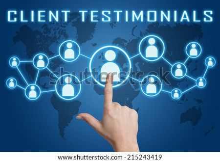 Client Testimonials concept with hand pressing social icons on blue world map background. - stock photo