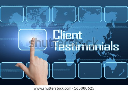 Client Testimonials concept with interface and world map on blue background - stock photo