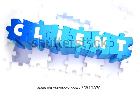 Client - Word in Blue Color on Volume  Puzzle. 3D Illustration. - stock photo