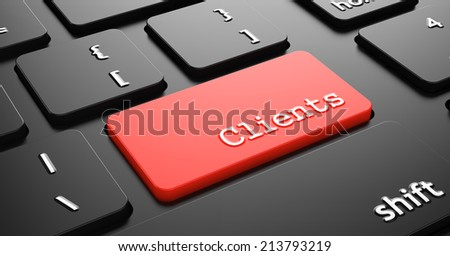 Clients on Red Button Enter on Black Computer Keyboard. - stock photo