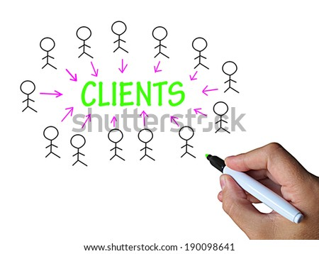 Clients On Whiteboard Showing Client Marketing Or Target Audience
