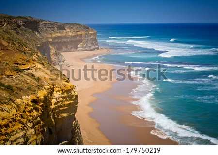 Cliff and beach at Port Campbell National Park, Great Ocean Road, Victoria - stock photo
