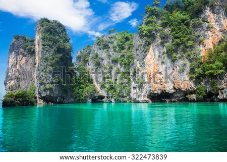 Cliff and the clear sea Phi-Phi Leh south of Thailand - stock photo