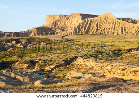cliff at semi-desert landscape of Navarra  in sunny morning