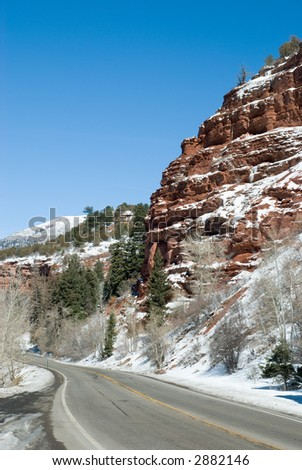 Cliff beside the road into Ouray, Colorado - stock photo