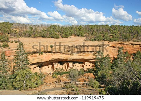 Cliff dwellings in Mesa Verde National Park, Colorado - stock photo