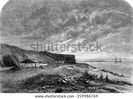 Cliff Esnandes, Bouchots at low tide, vintage engraved illustration. Magasin Pittoresque 1873.