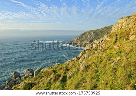 Cliff Galician coast in Atlantic ocean