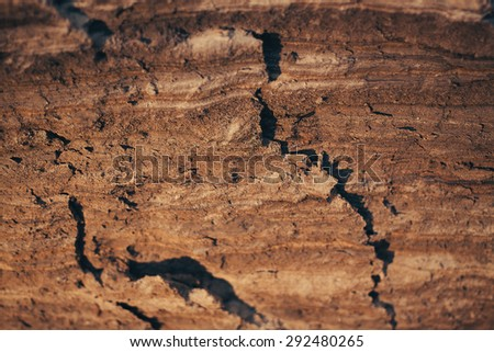 cliff of the brown clay background orange sand - stock photo