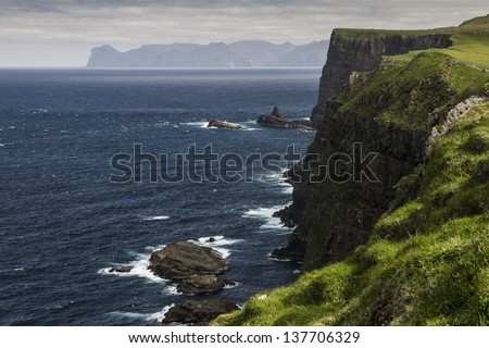 Cliff of the Mykines island, Faroe Islands