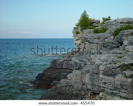 Cliff on Bruce Peninsula, Ontario Canada - stock photo