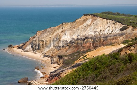 Cliff on Martha's Vineyard - stock photo