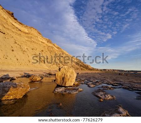 "Cliff on Puerto Piramide, Peninsula of Valdes, UNESCO ""World-wide Patrimony of the Humanity"", Chubut, Argentina - stock photo"