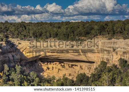 Cliff Palace Anasazi Indian Ruins, Mesa Verde National Park, Colorado - stock photo