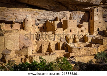 Cliff Palace Indian Ruins, Mesa Verde National Park, Colorado. This spectacular ruin is the largest in all of North America, comprising over 150 rooms. It was built by the Anasazi around 1200 AD.