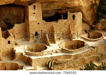 Cliff Palace Kivas Mesa Verde National Park - stock photo