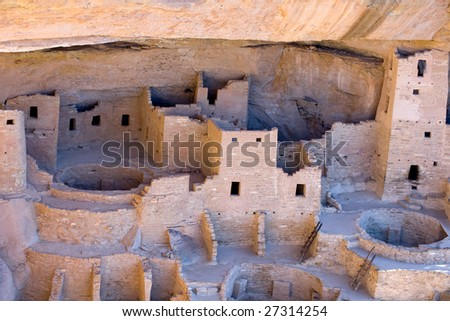 Cliff Palace ruins in Mesa Verde National park, Colorado - stock photo