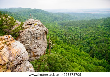 Cliff Side View of Valley at Petit Jean State Park - stock photo
