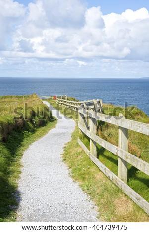 cliff walk on the wild atlantic way in ballybunion county kerry ireland - stock photo