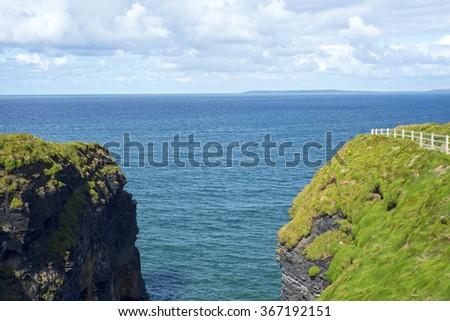 cliff walk view on the wild atlantic way in ballybunion county kerry ireland - stock photo