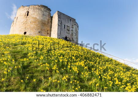 Clifford's Tower in the Spring, York - stock photo