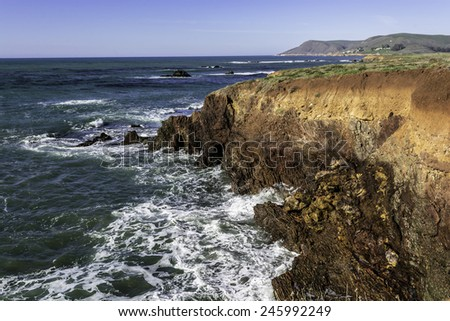 Cliffs and coastal views of the seaside, on the Central California Coast, near Cambria CA. - stock photo
