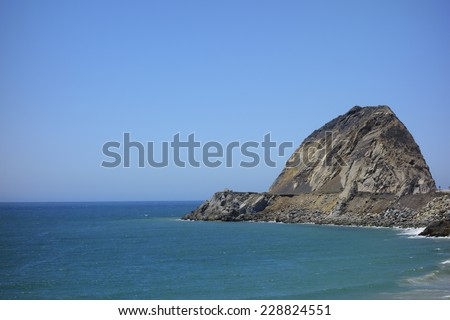 Cliffs and rocks along PCH-1 in Ventura County near Point Mugu, Southern California