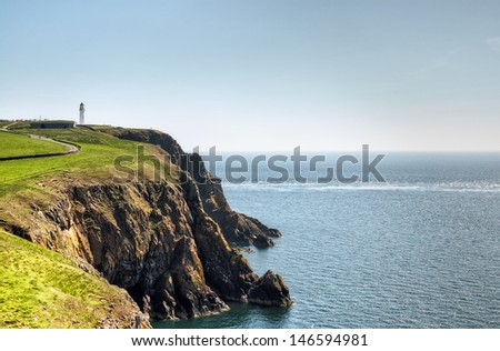 Cliffs and sea on the Mull of Galloway - stock photo