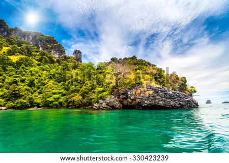 Cliffs and the clear sea in Phi Phi islands, Thailand - stock photo