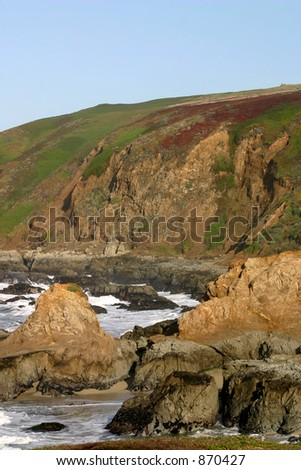 Cliffs at Bodega Head, popular whale watching site. - stock photo