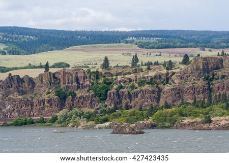 Cliffs at Columbia River Gorge, Pacific Northwest, between Oregon and Washington - stock photo
