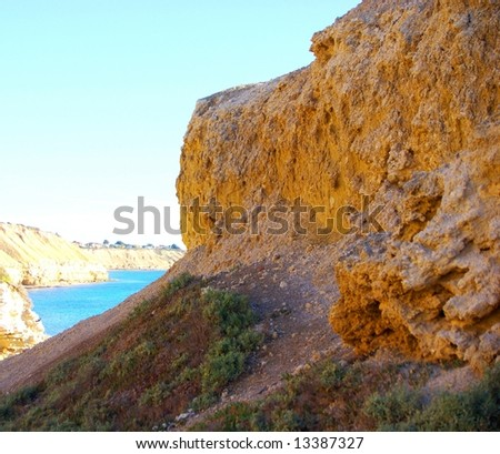 Cliffs at Port Willunga and the Gulf St Vincent (Adelaide, Australia). - stock photo