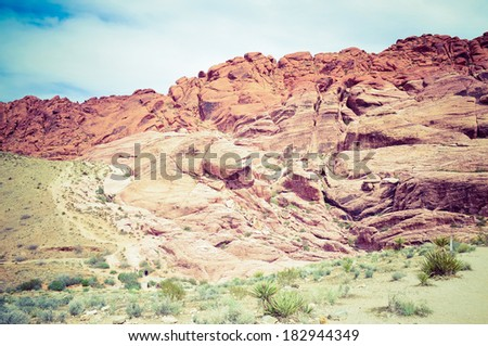 Cliffs at Red Rocks wilderness area outside of Las Vegas, Nevada. - stock photo
