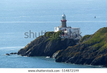 Cliffs in Howth and lighthouse, Ireland