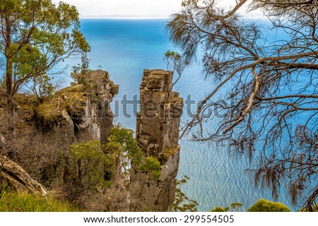 Cliffs in South Bruny National Park: the Monument, Tasmania Australia. - stock photo